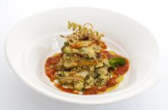 Avacado and cous cous with tomato relish Stock Photos