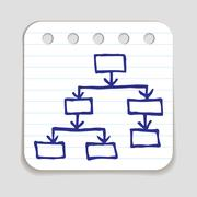 Doodle Flow Chart icon - stock illustration