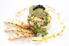 Avacado and caviar Stock Photos
