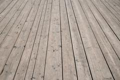 Vintage wooden surface with planks and gaps in perspective - stock photo