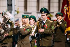 Orchestra of the Border Troops participating in the parade dedicated to the - stock photo