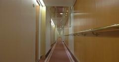 Long Corridor Of Ocean Cruise Ship Stock Footage