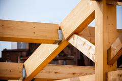 Construction of new wooden house - stock photo