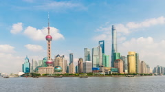Bund waterfront on Pudong, Shanghai - stock footage