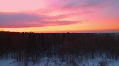 To take off from forest to a beautiful purple sunset over the city in the winter Stock Footage