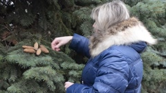 Stock Video Footage of Woman looking at pine cones in winter fall jacket