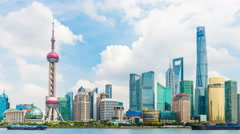 Bund waterfront on Pudong, Shanghai Stock Footage