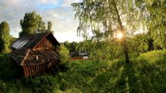 Sunset over the village Babina Gora, Kungurskiy District, Perm Krai, Perm Stock Footage