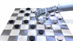 Robot hand playing checkers, 3D animation Stock Footage