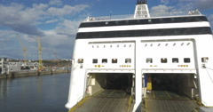 Ferry With Open Door To Take Automobile Traffic Stock Footage