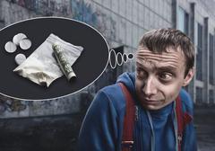 Addict in the street Stock Photos