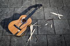 Stock Photo of Smashed guitar