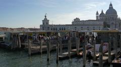 Basilica di Santa Maria della Salute and Punta della Dogana di Mare in Venice Stock Footage