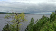 Movement of clouds on the river Kama. Cape Strelka, Gorodishche Village,  Stock Footage