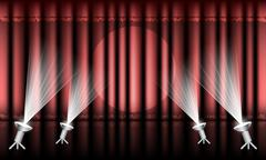 Stock Illustration of Theater stage with red curtain and spotlights.