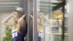 Blonde swagger girl Stock Footage