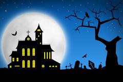 Spooky Halloween night - stock illustration