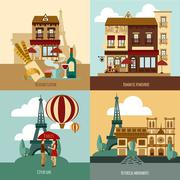 Paris Touristic Set - stock illustration