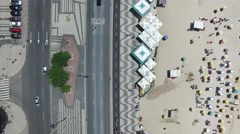 Top View Copacabana Sidewalk, Rio de Janeiro, Brazil Stock Footage