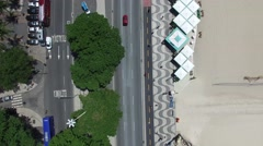 Stock Video Footage of Top View Copacabana Sidewalk, Rio de Janeiro, Brazil