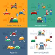 Traffic Violation Set - stock illustration