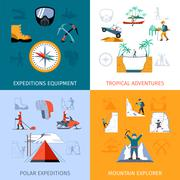 Expedition Flat Set Stock Illustration