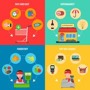 Supermarket Concept Set - stock illustration