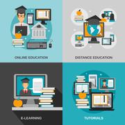 E-learning Flat Set - stock illustration