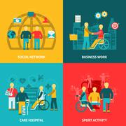 Disabled Working Flat Color Icons Composition Stock Illustration