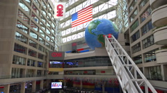 The interior of CNN cable network news headquarters in Atlanta, Georgia. - stock footage