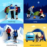 Camper People Icons Set - stock illustration