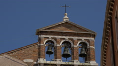 Church belfry with three bells in Venice Stock Footage