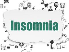 Health concept: Insomnia on Torn Paper background - stock illustration