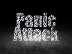 Health concept: Panic Attack in grunge dark room Stock Illustration