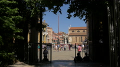 Campo Santo Stefano seen from Campiello San Vidal in Venice Stock Footage