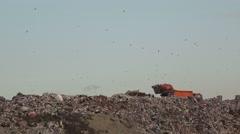 Garbage truck on landfill Arkistovideo