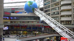 Establishing shot of the interior of CNN cable network news headquarters in - stock footage