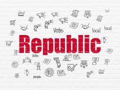 Stock Illustration of Politics concept: Republic on wall background