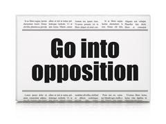 Stock Illustration of Political concept: newspaper headline Go into Opposition