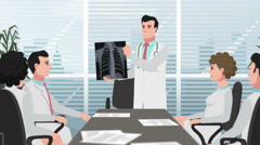 Cartoon Clinic / Man shows chest X-ray Stock Footage