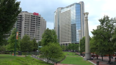 Establishing shot of the exterior of CNN cable network news headquarters in Stock Footage