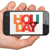 Stock Illustration of Entertainment, concept: Hand Holding Smartphone with Holiday on  display