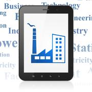 Manufacuring concept: Tablet Computer with Industry Building on display - stock illustration