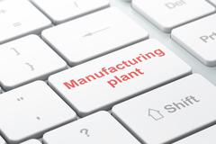 Manufacuring concept: Manufacturing Plant on computer keyboard background - stock illustration