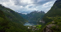 Norway Mountains And Fjord View - Occurrence of fog, Tilt Down Stock Footage