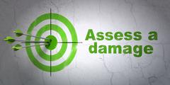 Insurance concept: target and Assess A Damage on wall background Stock Illustration