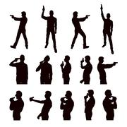 Silhouettes of person with the gun Stock Illustration