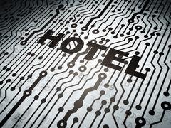 Travel concept: circuit board with Hotel - stock illustration