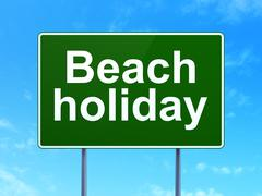 Travel concept: Beach Holiday on road sign background - stock illustration