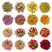 Top view of sixteen colorful flower bouquets - stock photo